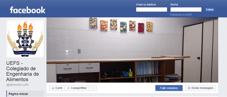 Página do Facebook do Colegiado de Engenharia de Alimentos da UEFS
