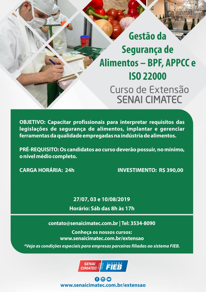 Extensão - Gestão da Segurança de Alimentos BPF, APPCC, ISO 22000