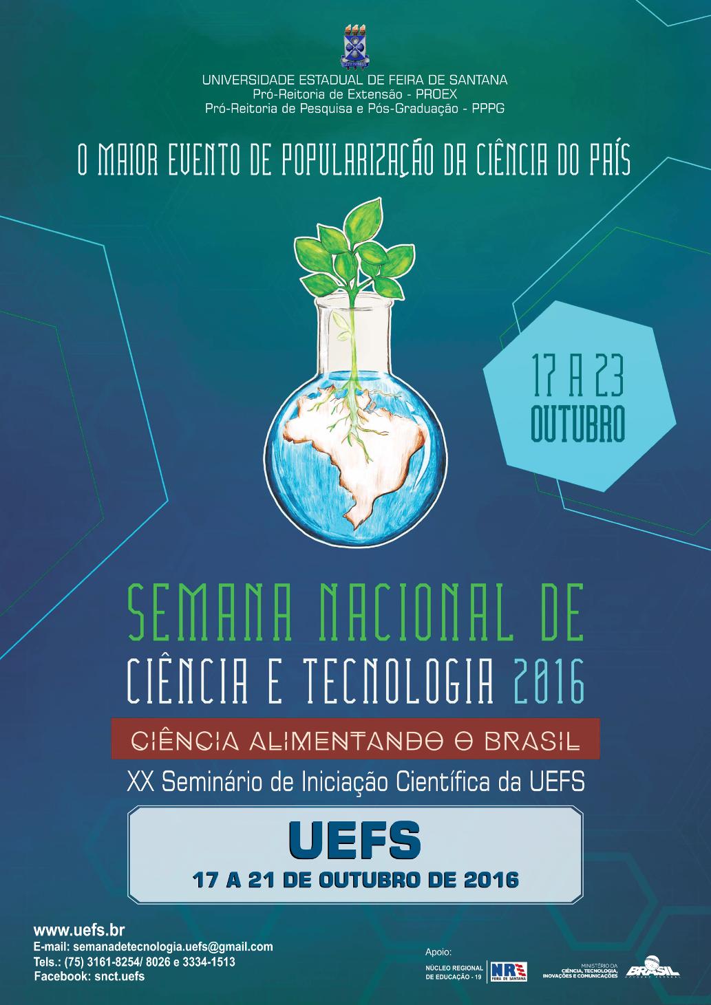 Programação - Semana Nacional de Ciência e Tecnologia na UEFS