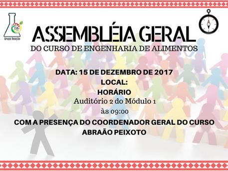 Assembleia Geral do Curso de Engenharia de Alimentos (15/12/2017)