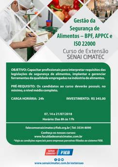 SENAI - Extensão em Gestão de Segurança de Alimentos - BPF, APPCC e ISO 22000,